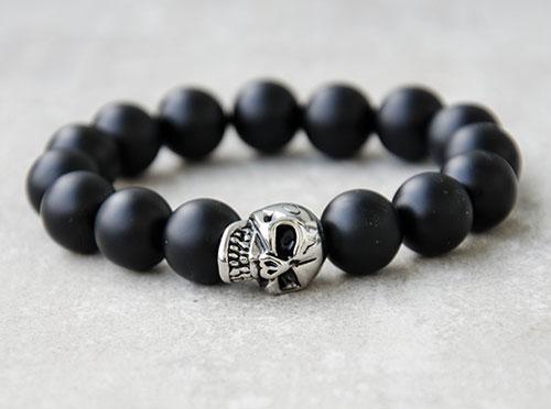 Herren Männer Armband Edelstahl Edelstein Perlen Rocker Biker Onyx Totenkopf 311